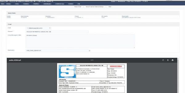 Sistema ERP Inspire - Tela de email do pedido